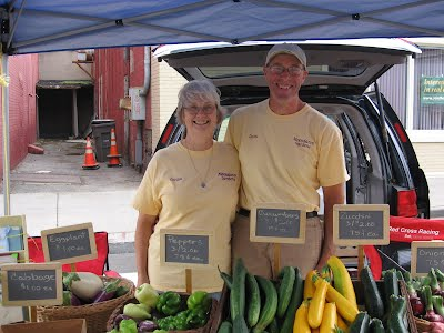 David & Celia Deuel at the Moondance Gardens stand at the Geneseo Farmers Market